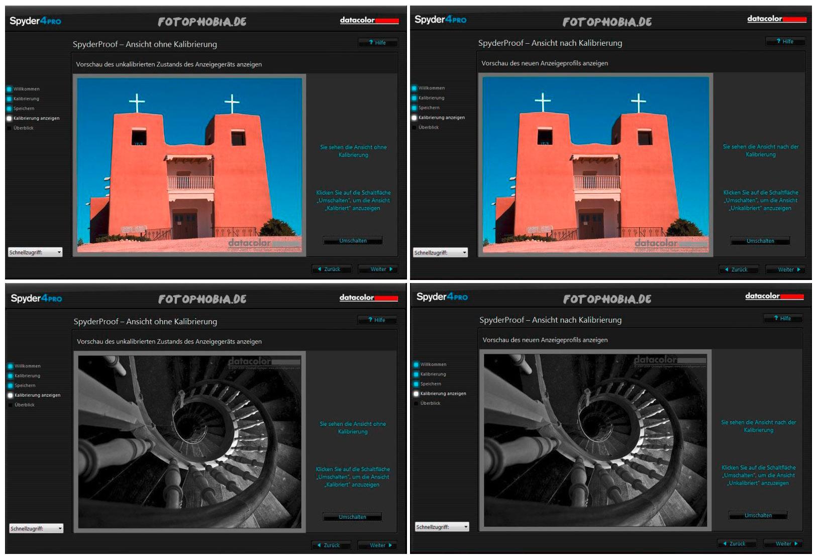 4 Beispielbilder der Monitorkalibrierung durch den Spyder4Pro