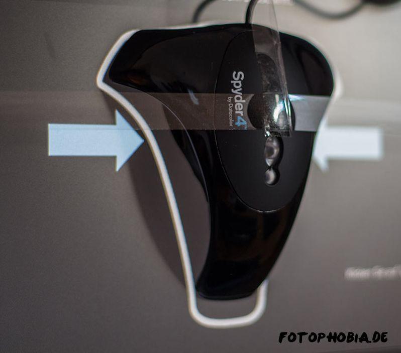 Spyder4Pro am Monitor positionieren