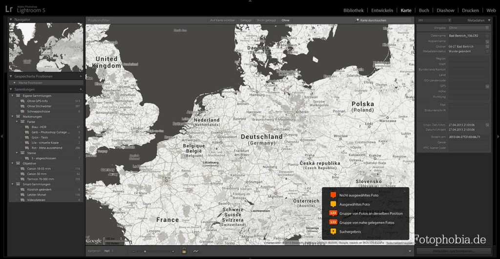 Screenshot - Lightroom 5 - Geotagging Ansicht