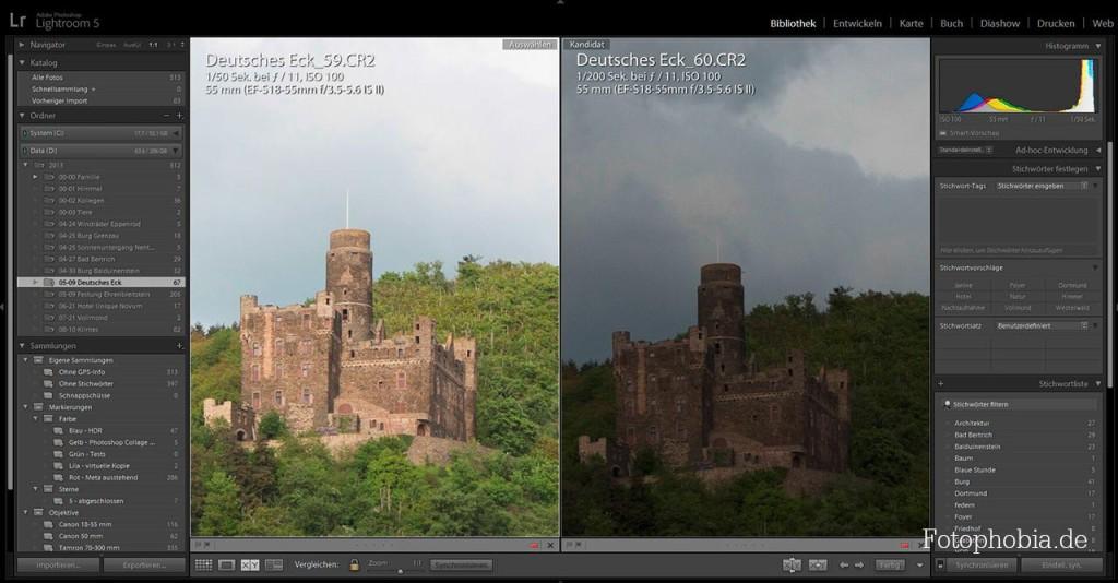 Screenshot - Lightroom 5 - Burg mit unterschiedlichen Kameraeinstellungen in der Vergleichsansicht