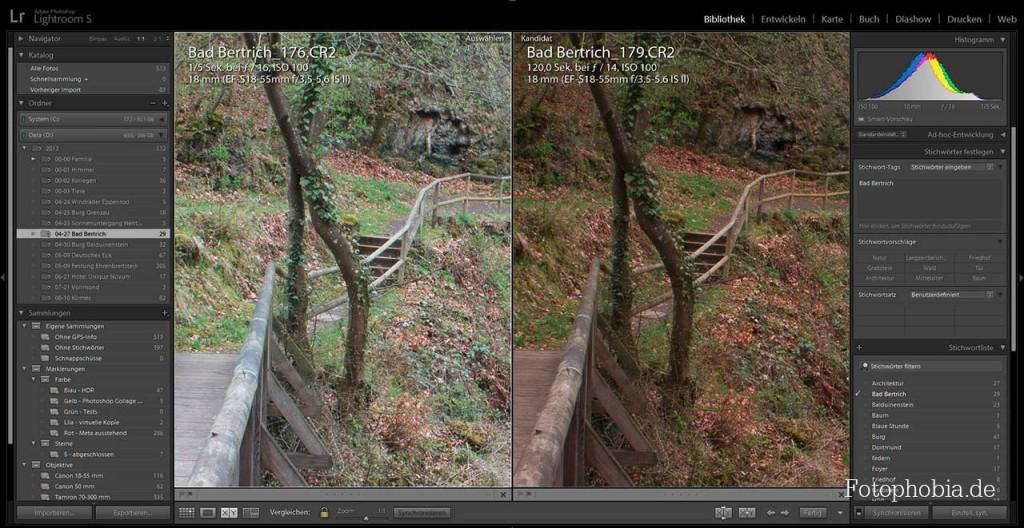 Screenshot - Lightroom 5 - Vergleichsansicht zweier Bilder einer Brücke über einem Fluss